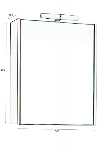 Горен шкаф за баня Класика 50 см с осветление
