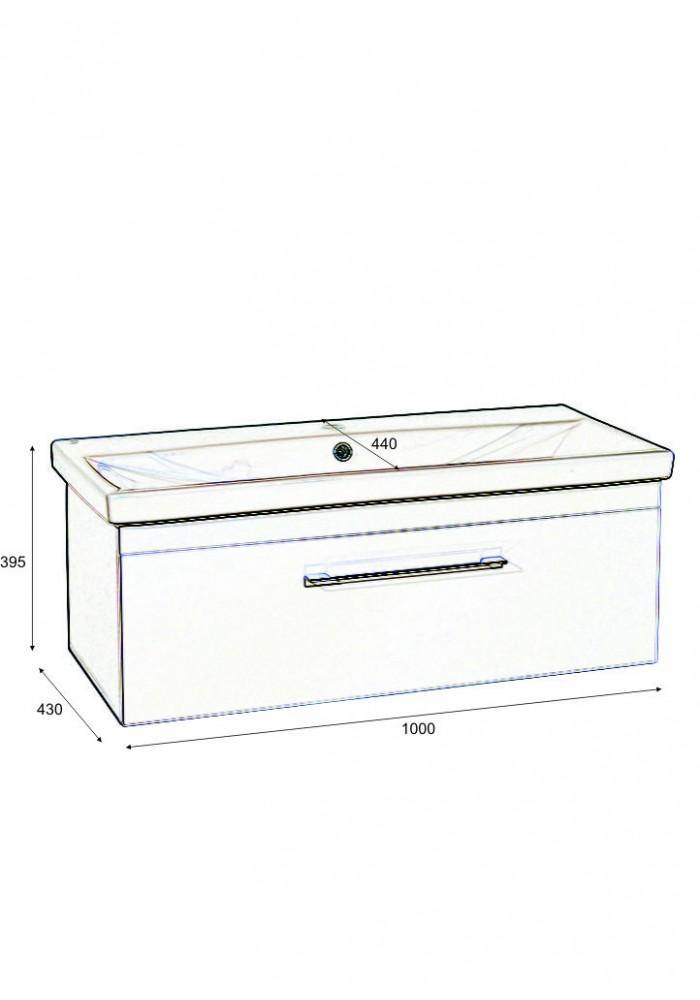 Шкаф за баня Елит долен 100 см - Slim line